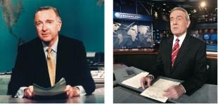 MODELOS Walter Cronkite (à esq.) e Dan Rather na bancada  do CBS News. Ambos foram inspiração para o âncora da série de TV  (Foto: Everett Collection e divulgação)